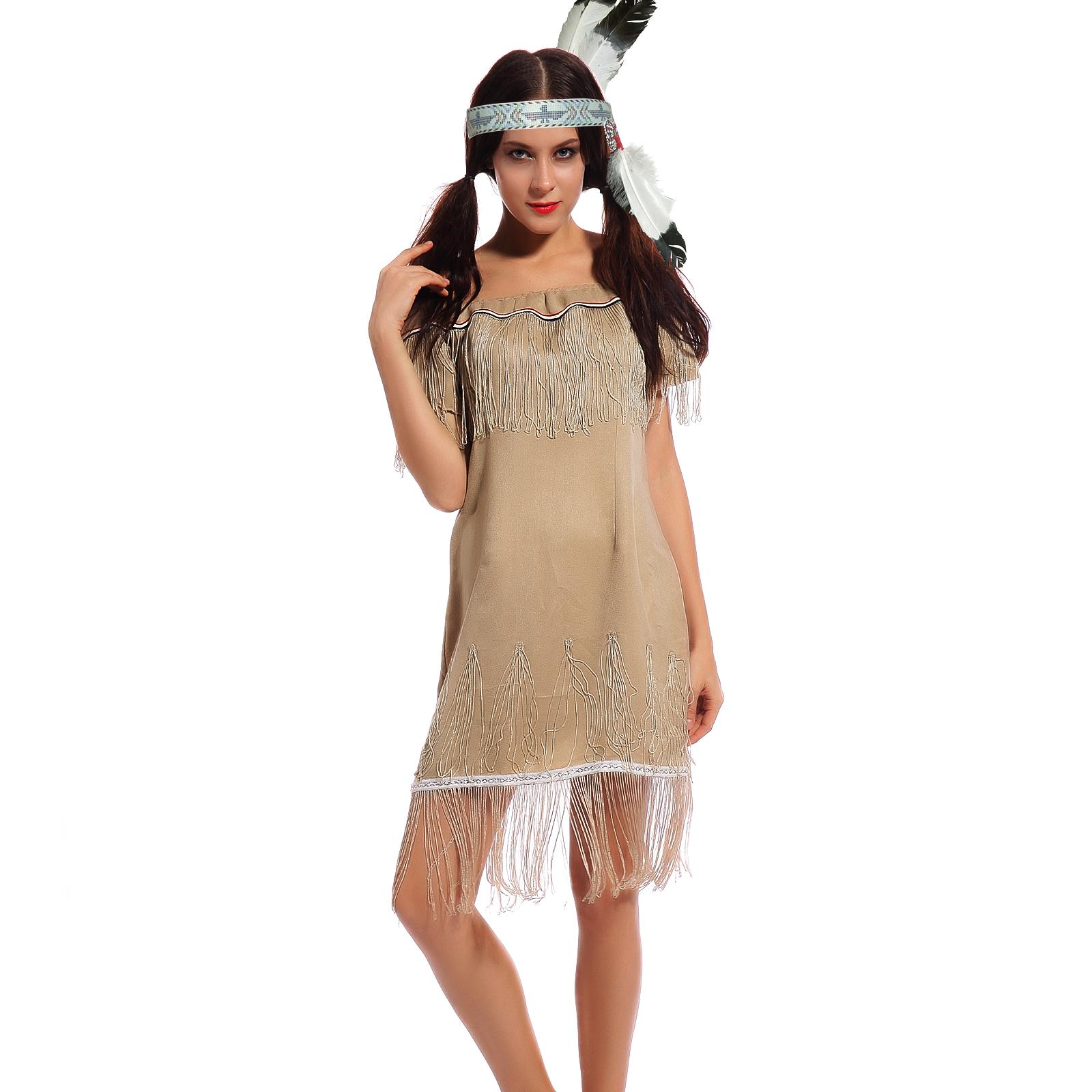 indianerin kost m squaw indianerkleid fransen indianerkost m damen frau karneval ebay. Black Bedroom Furniture Sets. Home Design Ideas