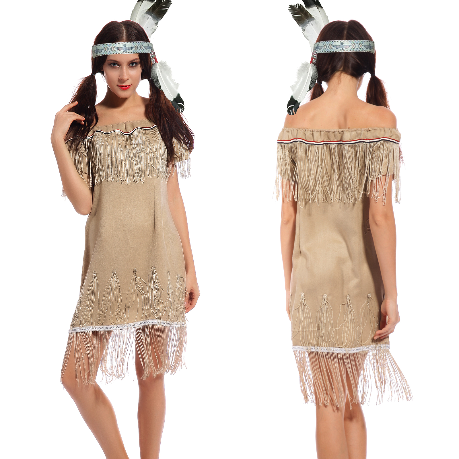 squaw indianerin kost m indianerkleid western fransenkleid fasching karneval ebay. Black Bedroom Furniture Sets. Home Design Ideas