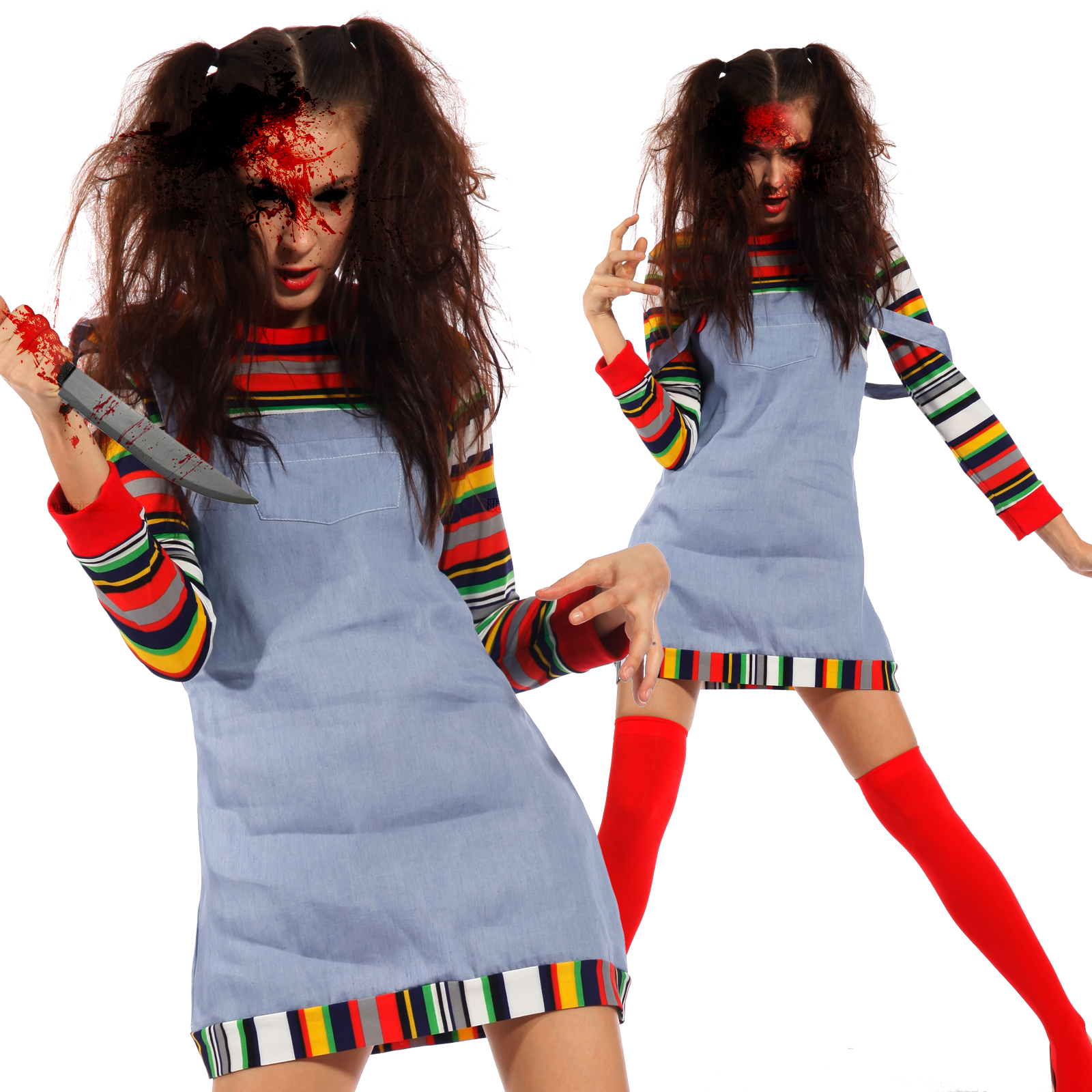 Womens Sexy Seed of Chucky Doll Costume Chucky Costume Halloween ...