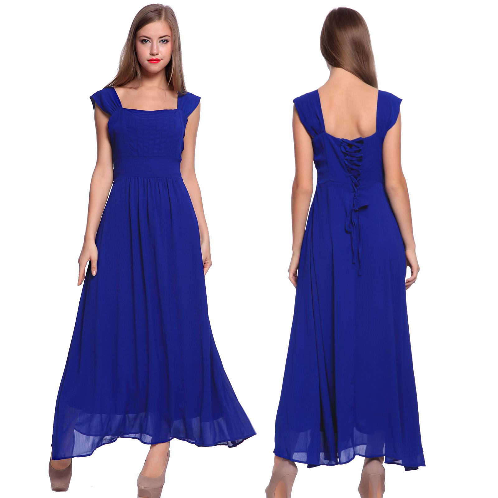 robe longue maxi sans manche elegant mariage soiree femme