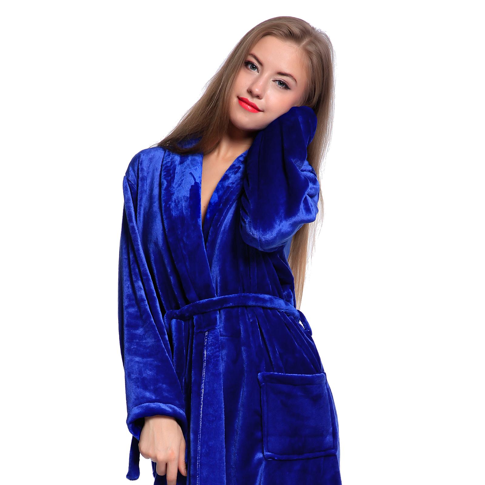 Unisex Womens Mens Fleece Shawl Collar Super Soft Bathrobe