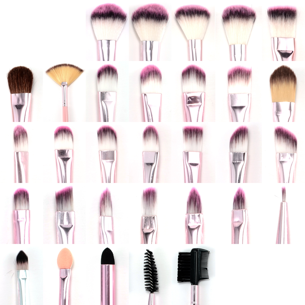 fr ulein 3 8 31er pinselset kosmetik schminkpinsel brush set b rste pink etui ebay. Black Bedroom Furniture Sets. Home Design Ideas