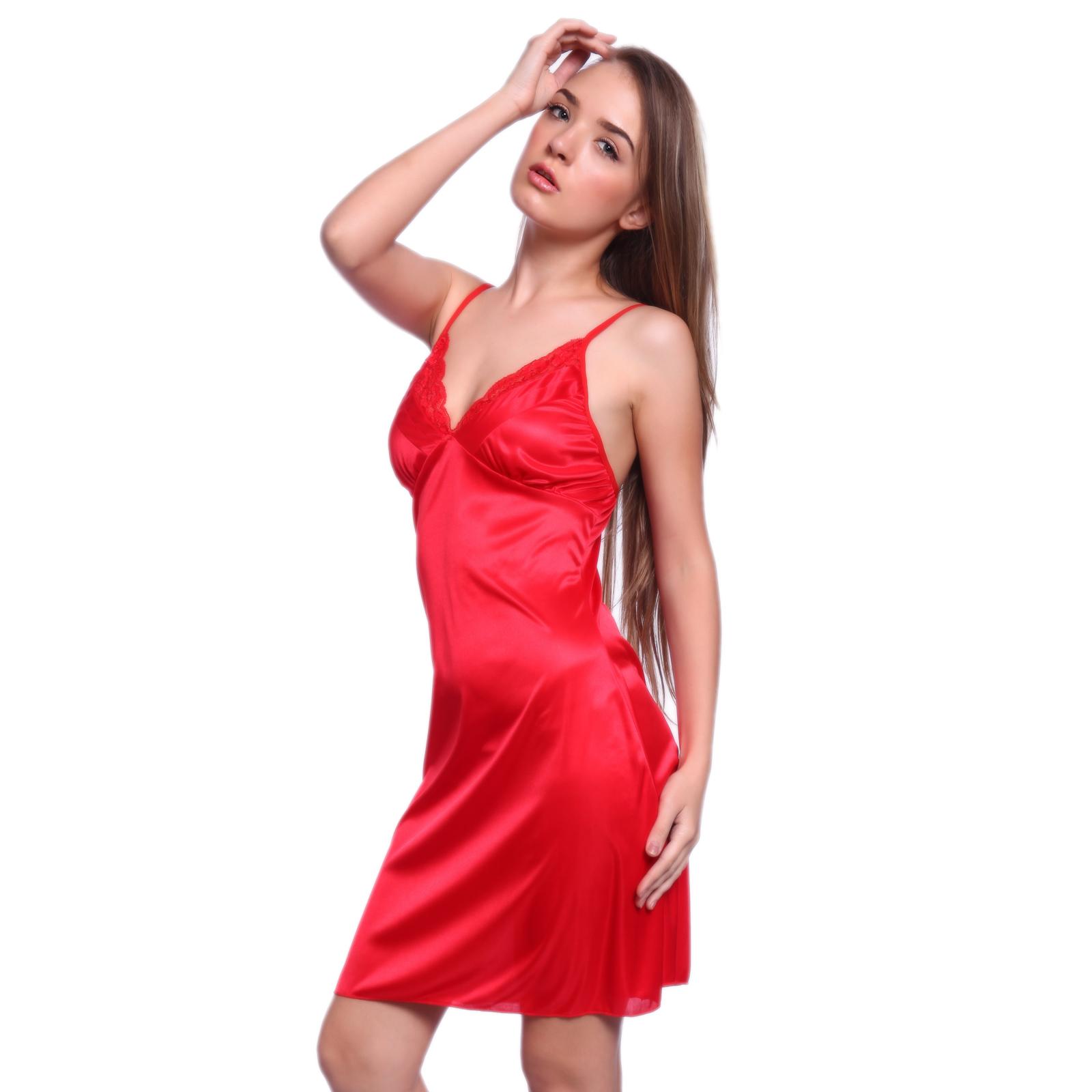 Sexy Silky Satin Chemise Full Slip Nightdress W/ G-string