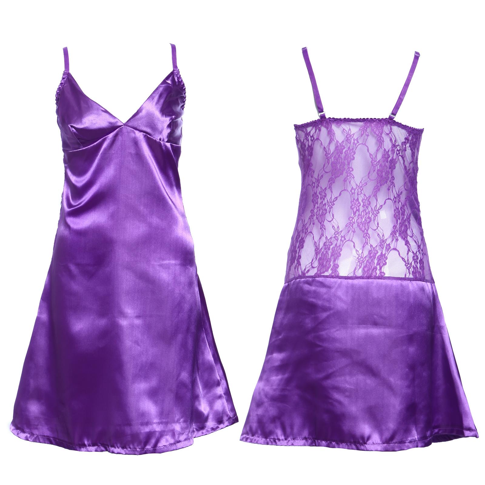 sexy 3tlg satin spitze nachthemd nachtmantel nachtkleid dessous negligee set ebay. Black Bedroom Furniture Sets. Home Design Ideas