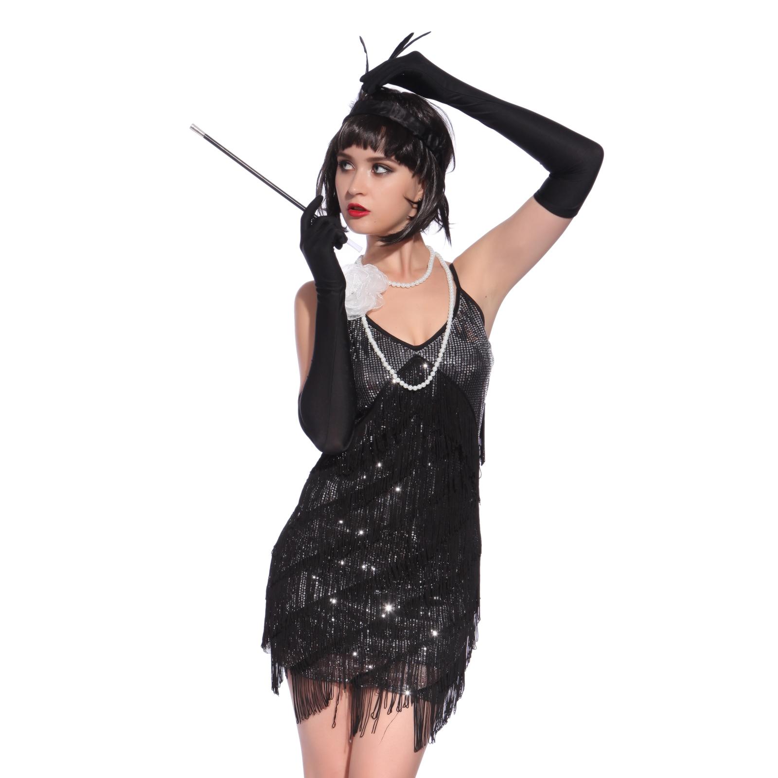 costume deguisement robe a frange sequin 20s charleston vintage carnaval soiree ebay. Black Bedroom Furniture Sets. Home Design Ideas