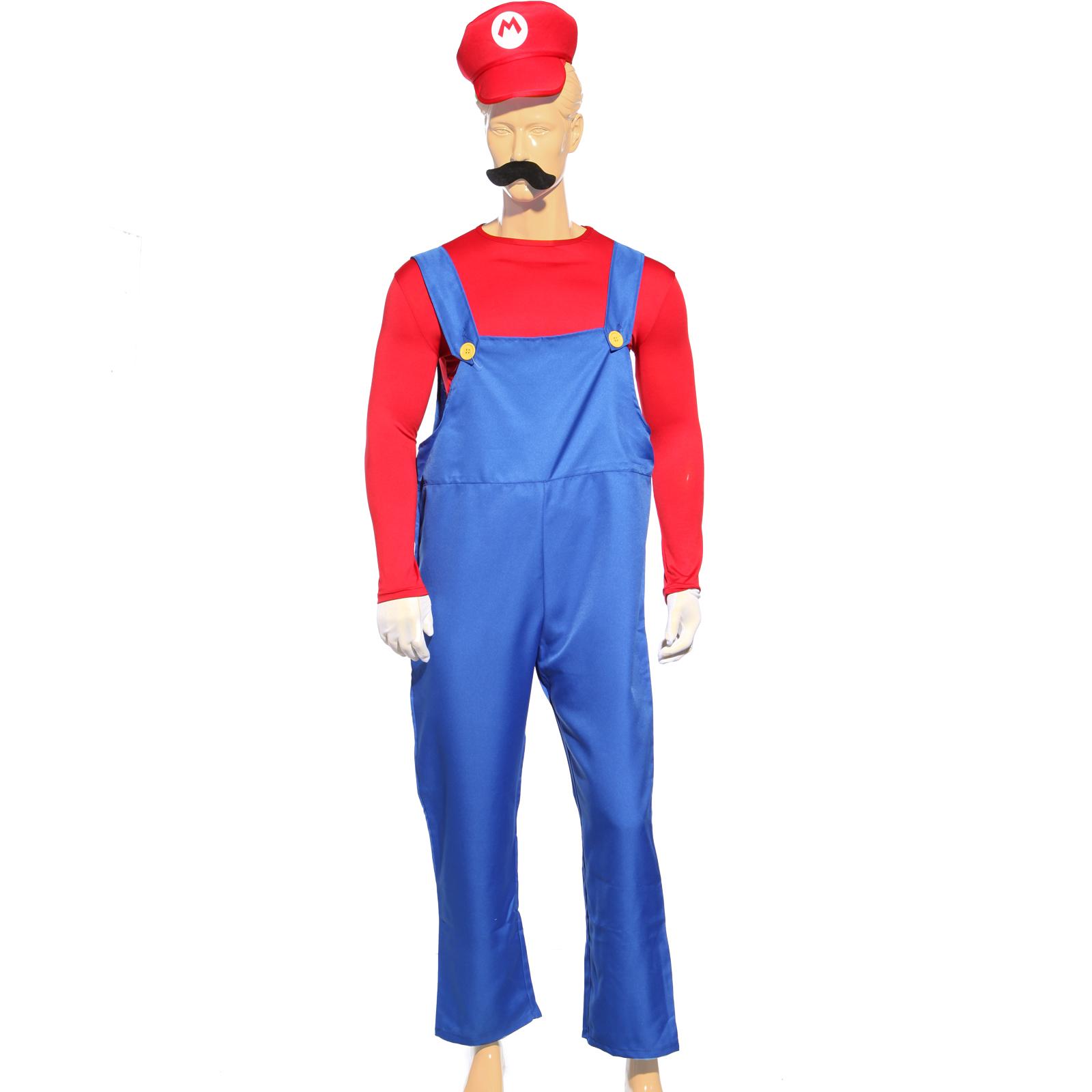 kit mario luigi homme 80s jeux super deguisement casquette moustache plombier ebay. Black Bedroom Furniture Sets. Home Design Ideas