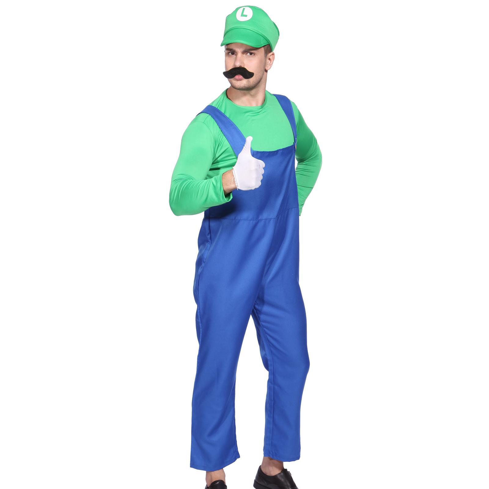 mens boys super mario luigi brother plumber cosplay - Male Costumes Halloween