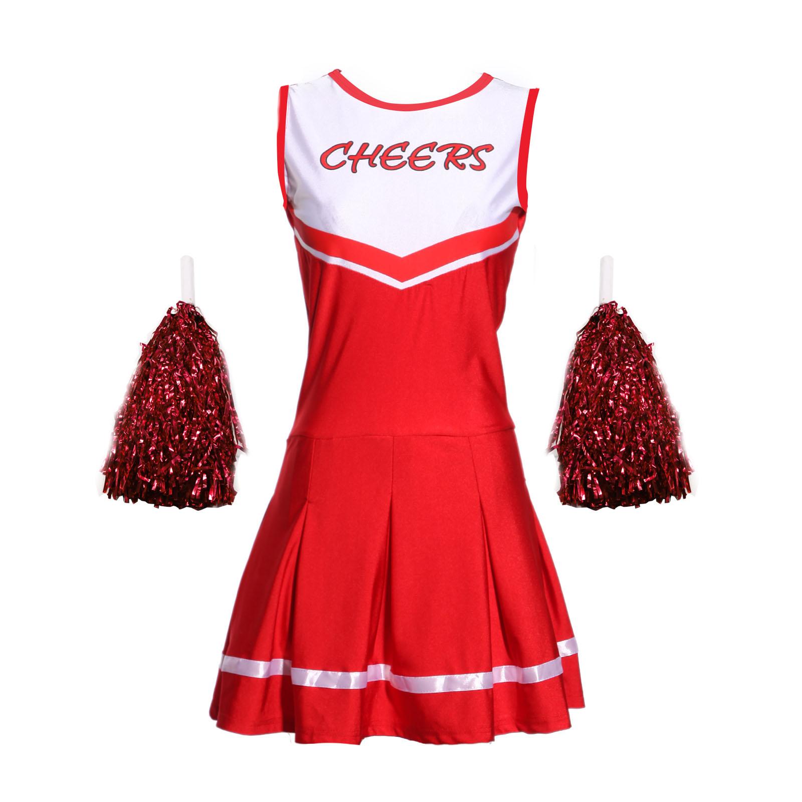 sexy m dchen damen cheerleader kost m uniform mit pompins gogo school girl dress ebay. Black Bedroom Furniture Sets. Home Design Ideas