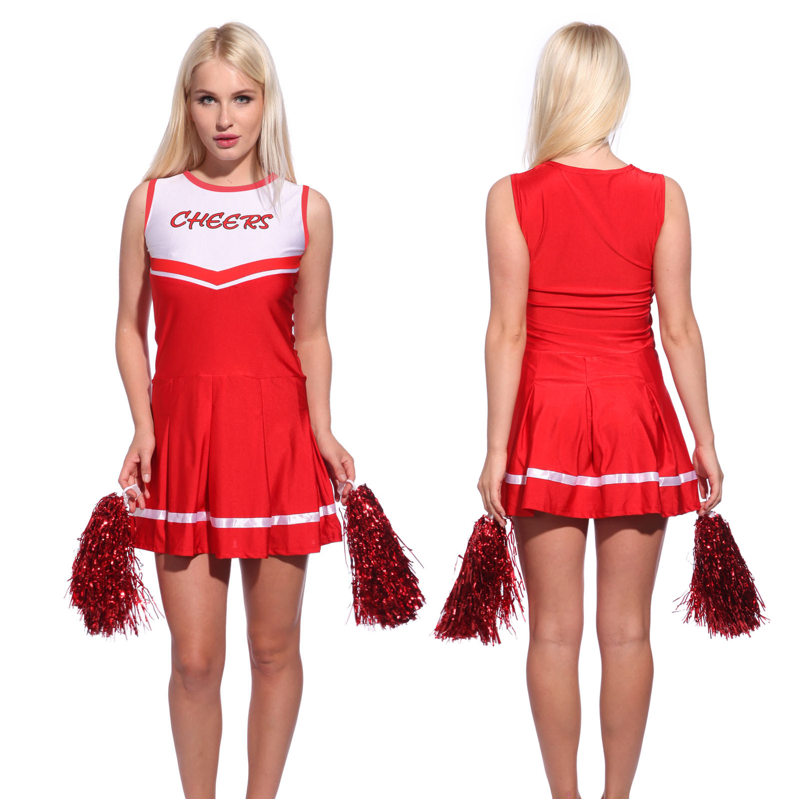 Ladies High School Cheer Girl Cheerleading Costume Fancy Dress Outfit with Poms | eBay