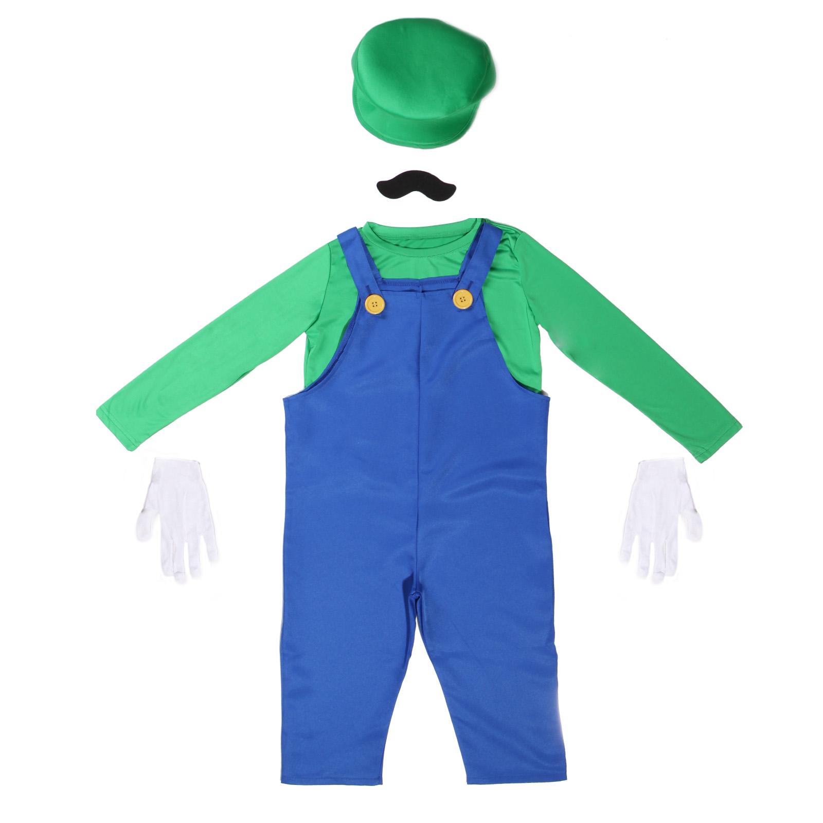 tenue deguisement costume game jeux plumbier mario luigi enfant garcon moustache. Black Bedroom Furniture Sets. Home Design Ideas