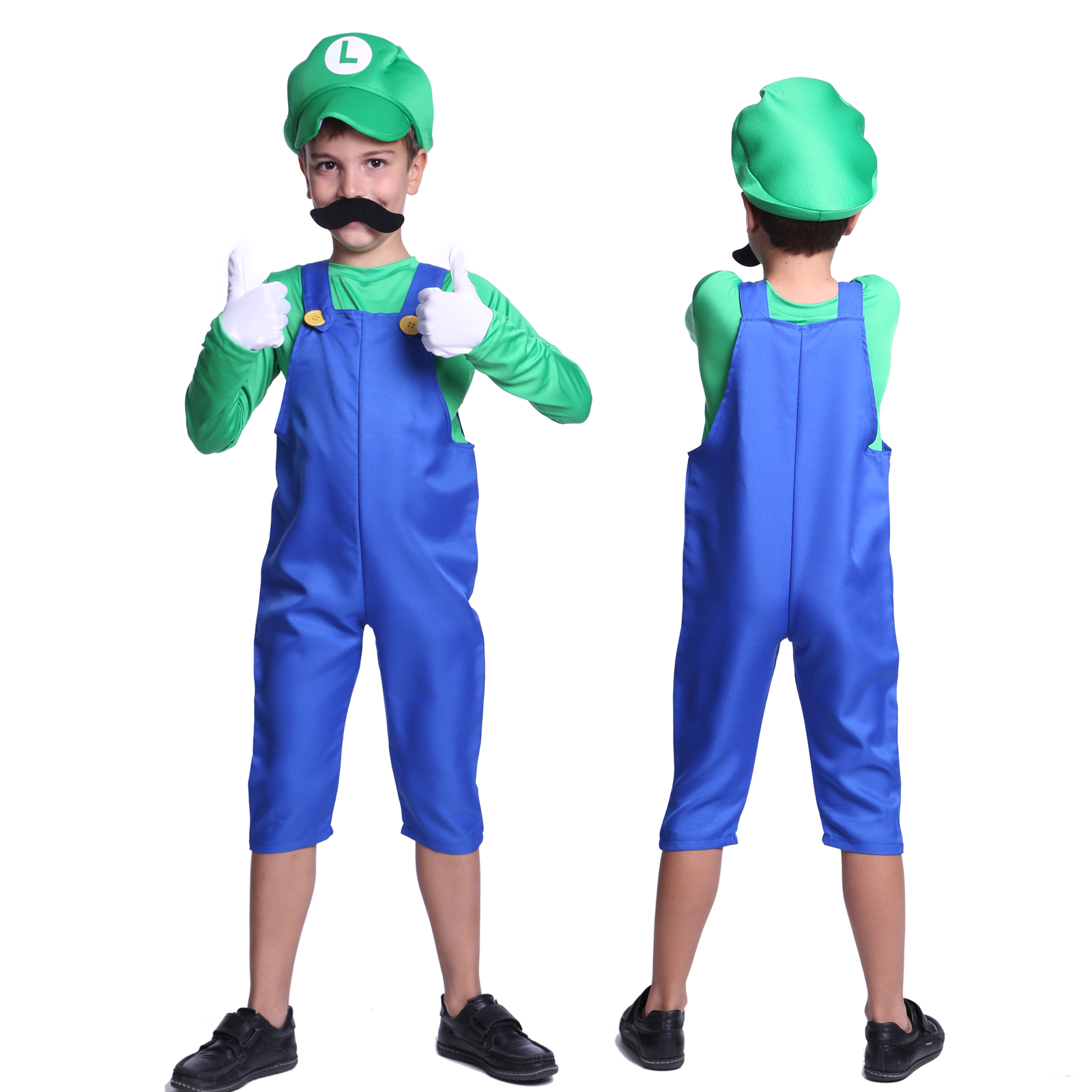 superhero mario luigi bro plumber workman boys oversize overall cosplay outfit ebay. Black Bedroom Furniture Sets. Home Design Ideas