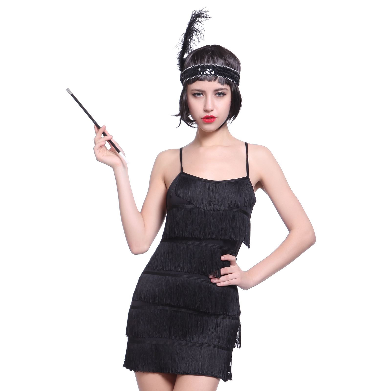 deguisement costume tenue robe a frange bandeau flume cigarette annee 20 1920 ebay. Black Bedroom Furniture Sets. Home Design Ideas