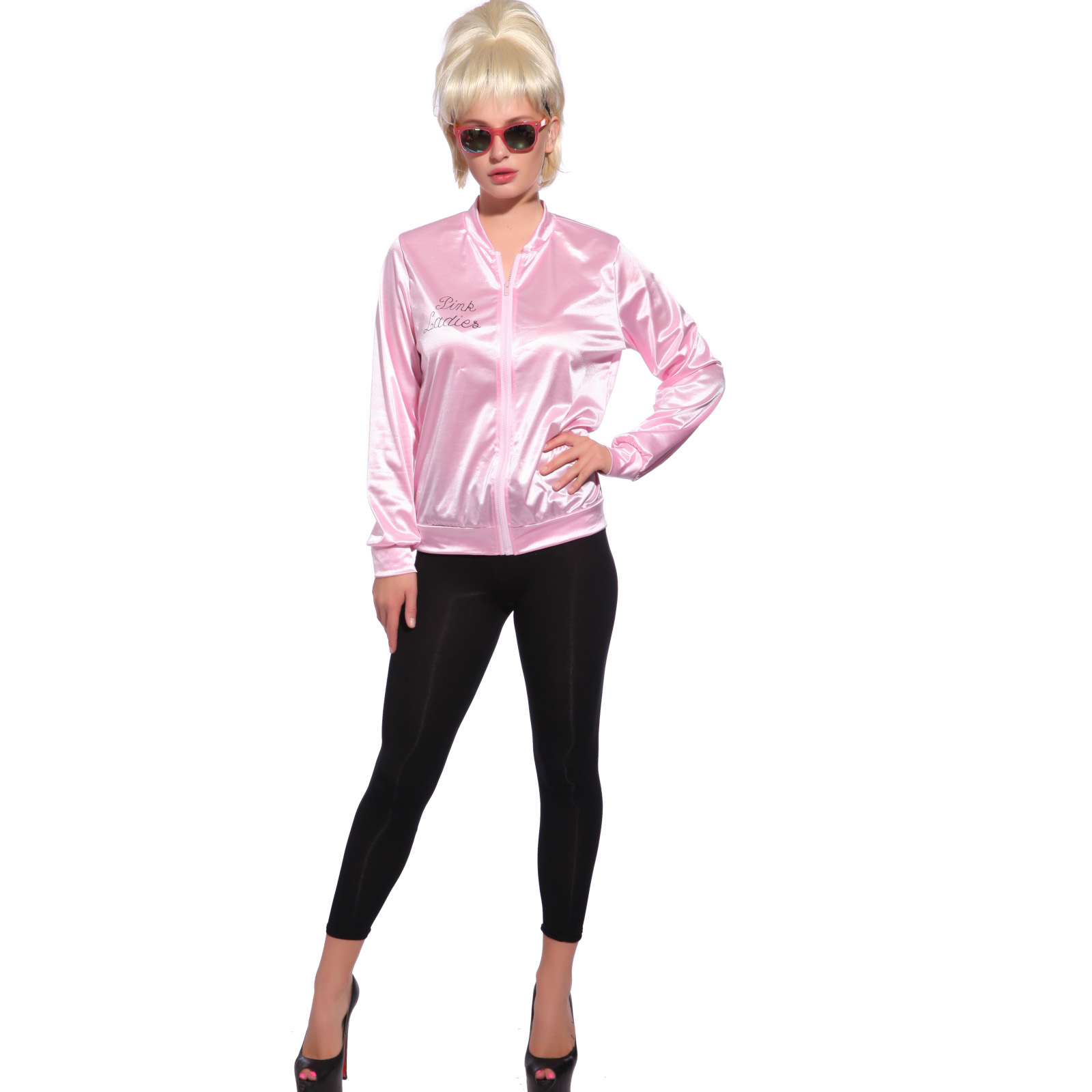 50s Pink Ladies Jacket Grease Shirt Fancy Dress Up 1950s ...