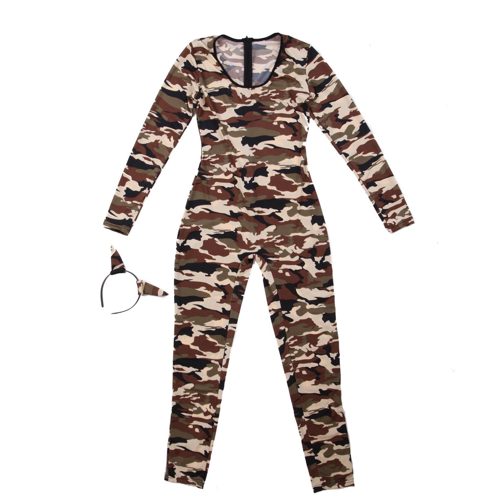 neu frauen tierdruck zebra leopard soldatin armee halloween party kost m overall ebay. Black Bedroom Furniture Sets. Home Design Ideas