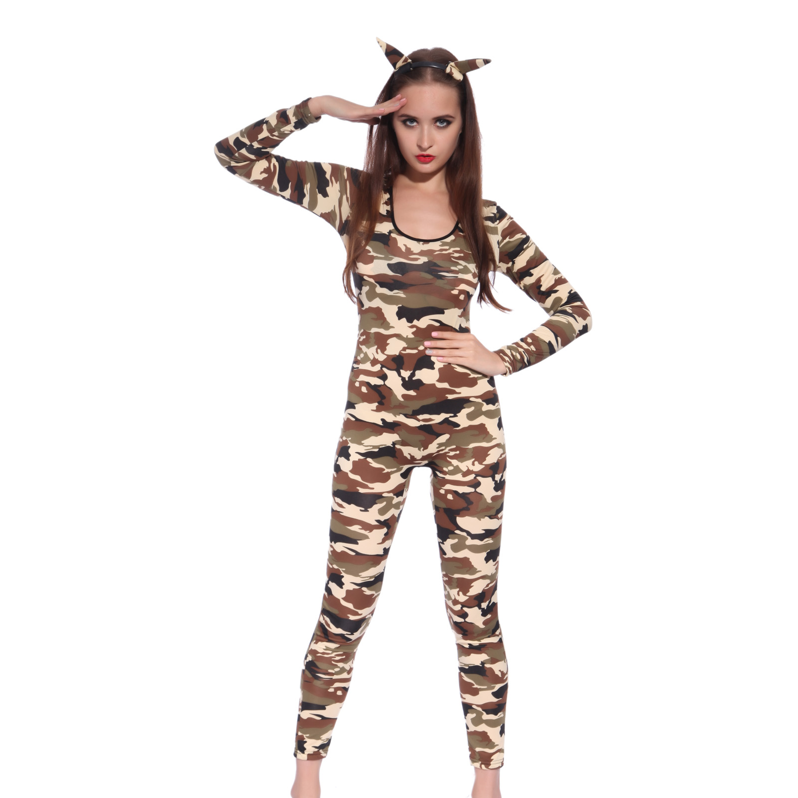 sexy ladies bodystocking bodysuit camo camouflage print fancy dress costume ebay. Black Bedroom Furniture Sets. Home Design Ideas