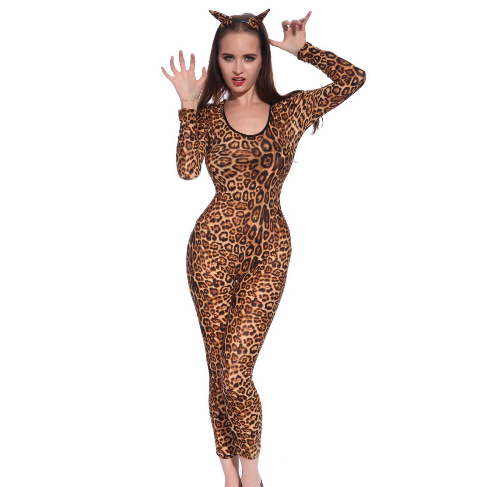 Leopard print catsuit, tail and leopard ears headband. Hollywood wig sold separately.