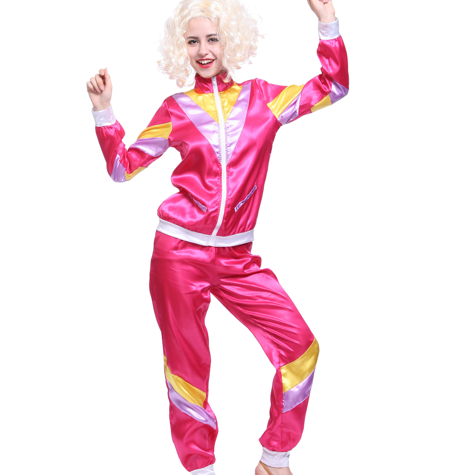 Pink Shell Suit Fancy Dress Costume
