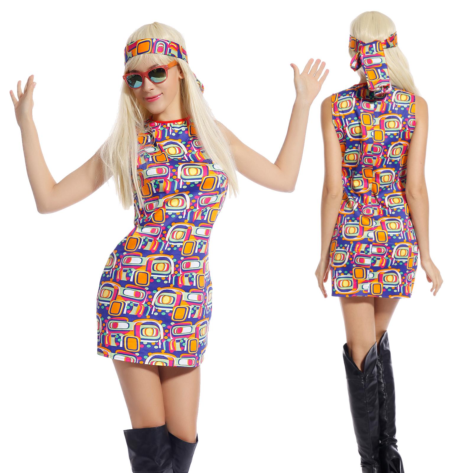 60s 70s fancy dress costume flower power hippy hippie retro gogo party