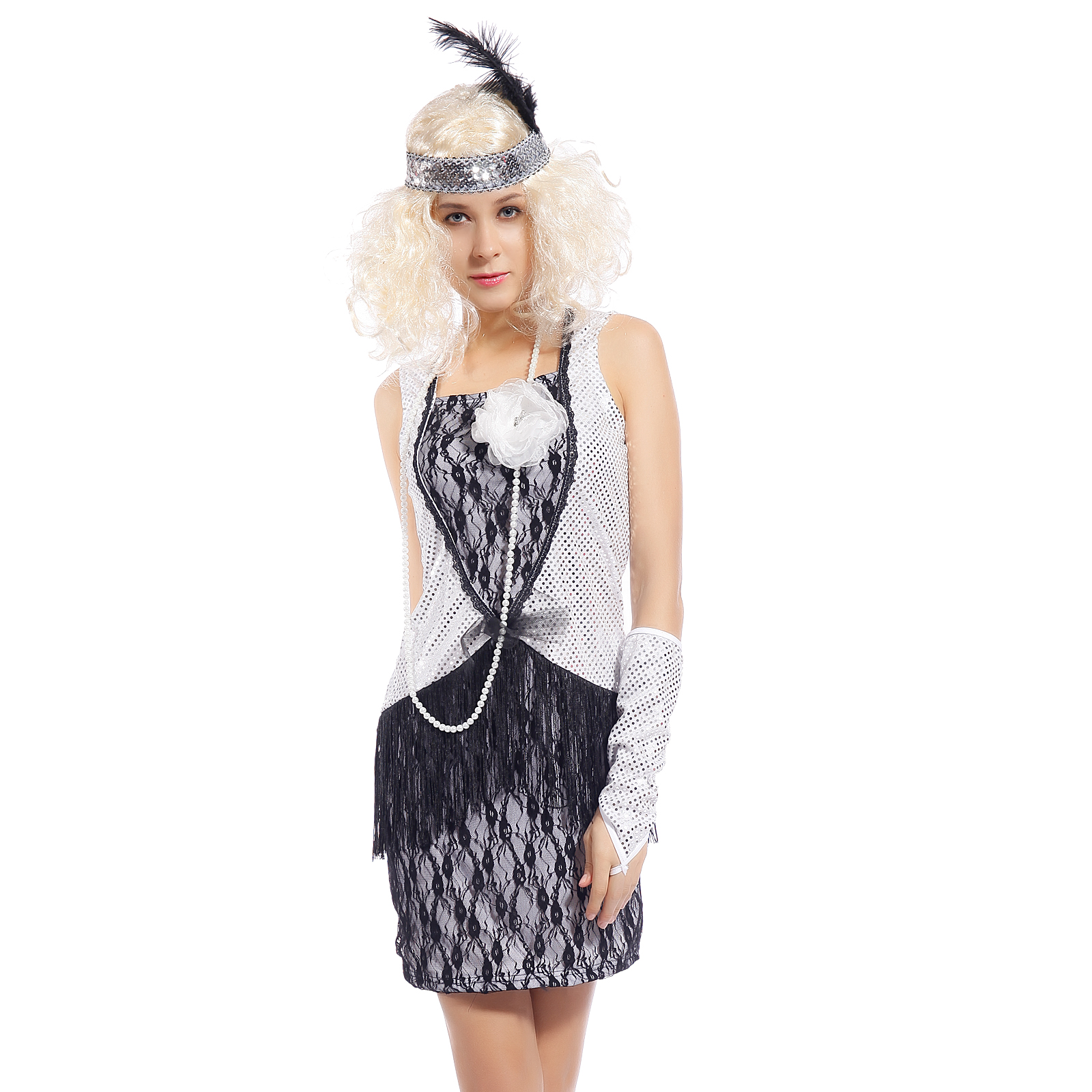 charleston 20er jahre flapper kost m fasching karneval verkleidung flapperkleid ebay. Black Bedroom Furniture Sets. Home Design Ideas