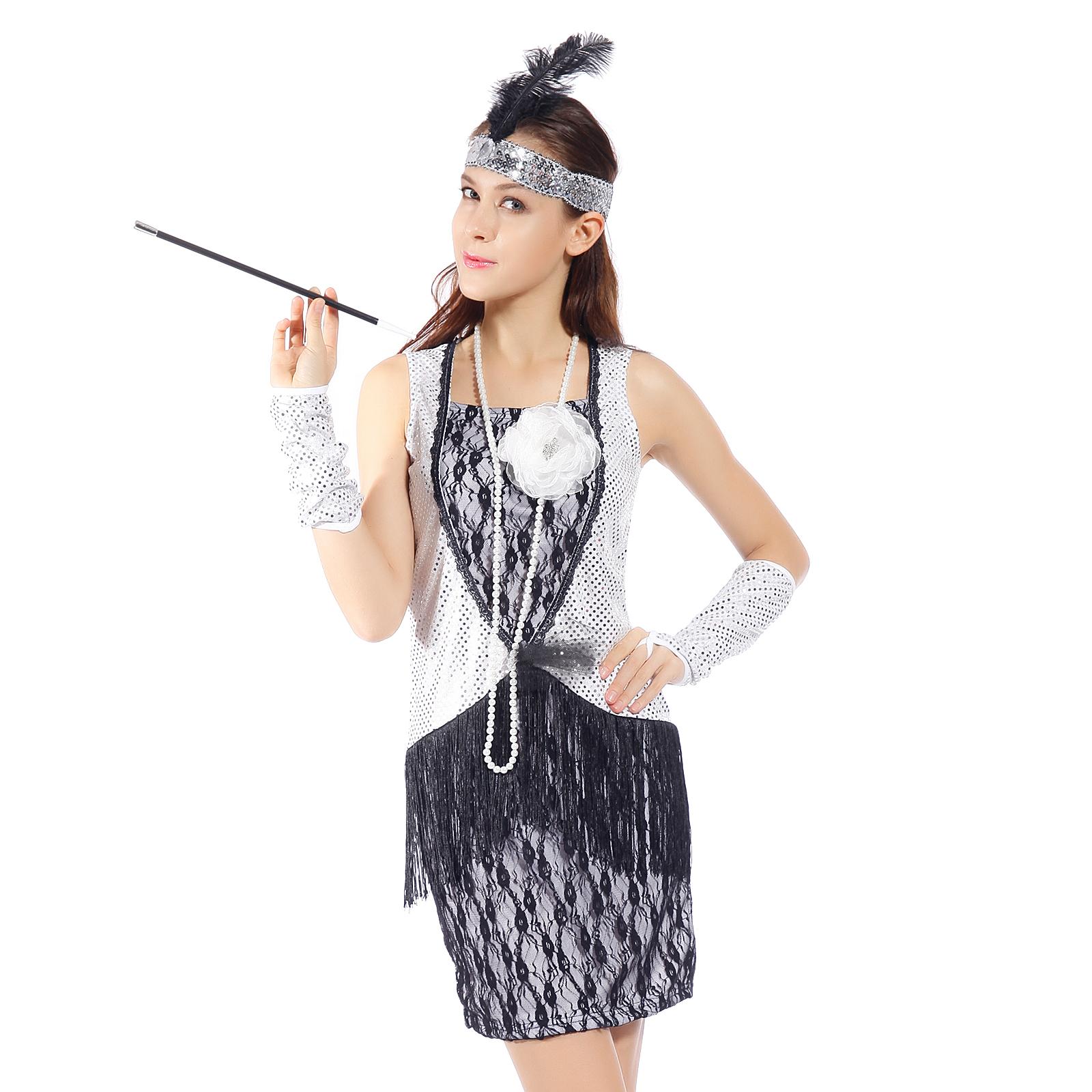 costume de deguisement robe a frange sequin 1920s 30s charleston gatsby carnaval ebay. Black Bedroom Furniture Sets. Home Design Ideas