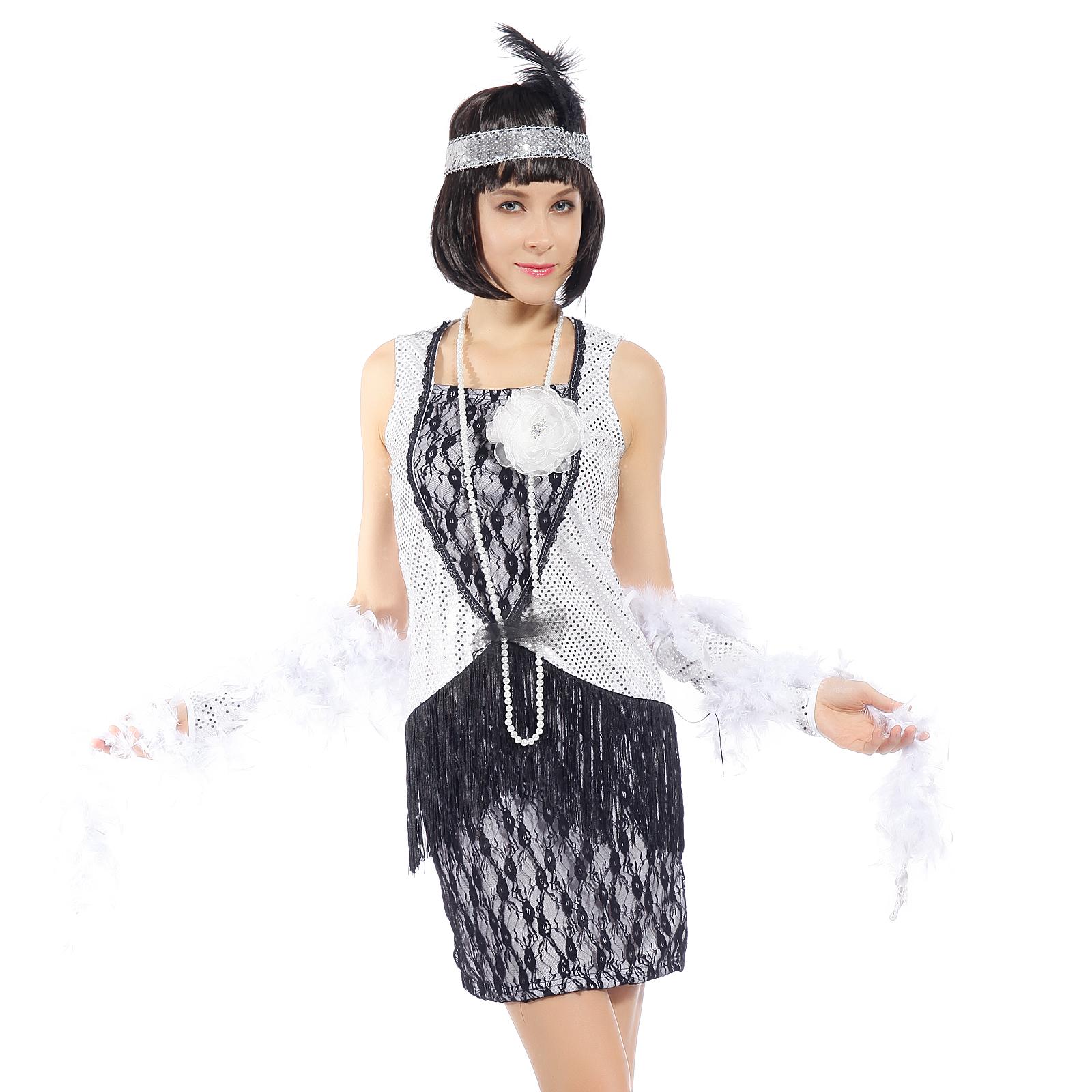 robe frange bandeau flapper deguisement charleston femme. Black Bedroom Furniture Sets. Home Design Ideas
