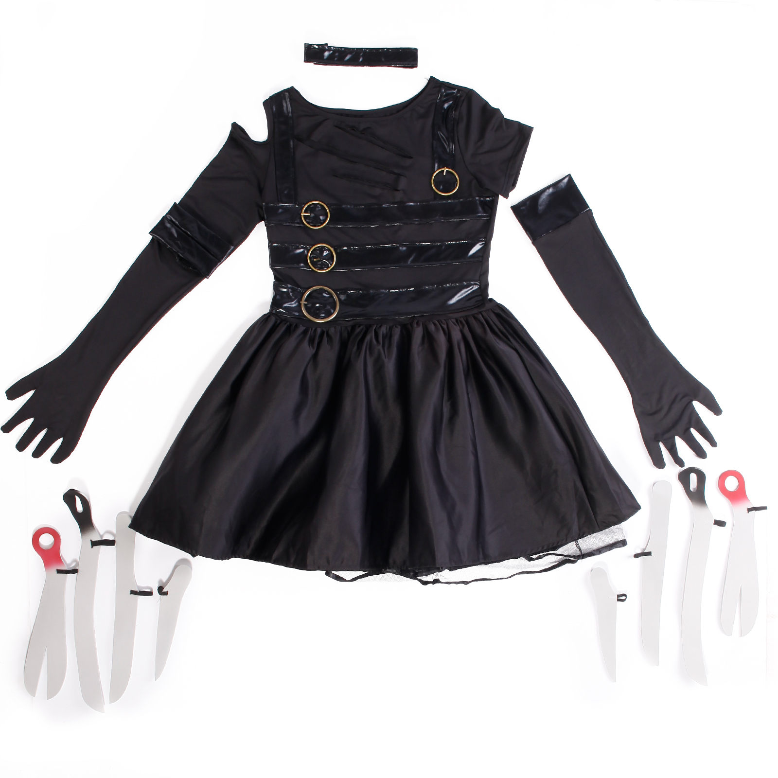 halloween karneval m dchen schwarze edward scissorhands kost m monster kleid neu ebay. Black Bedroom Furniture Sets. Home Design Ideas