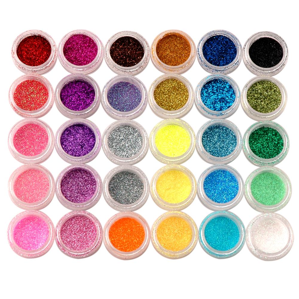 30 Colors Nail Art Acrylic Shiny Glitter Powder Dust Beads For ...