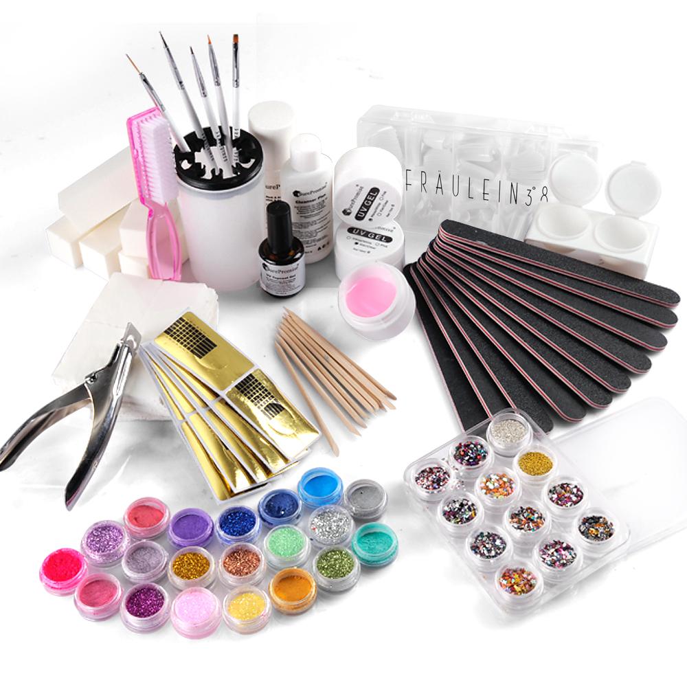 30tlg nagelstudio nagel starter uv gel set acryl puder glitzer topcoat set ebay. Black Bedroom Furniture Sets. Home Design Ideas