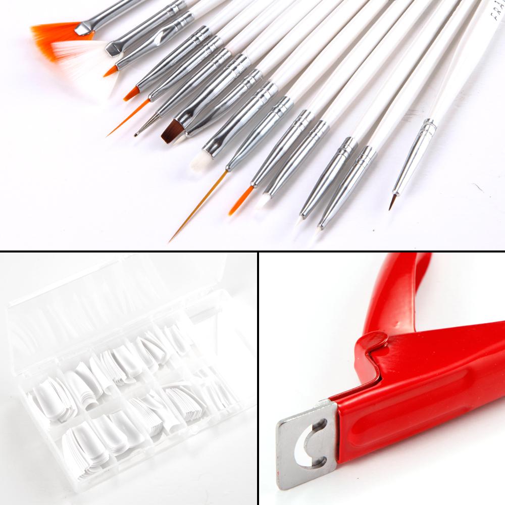 gel set glitter brush nail tips glue full kit package 3 basic uv gel