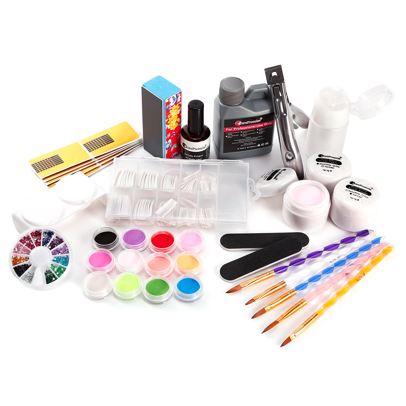 acryl starter set 12 farbe puder fl igkeit tips nailart ebay. Black Bedroom Furniture Sets. Home Design Ideas