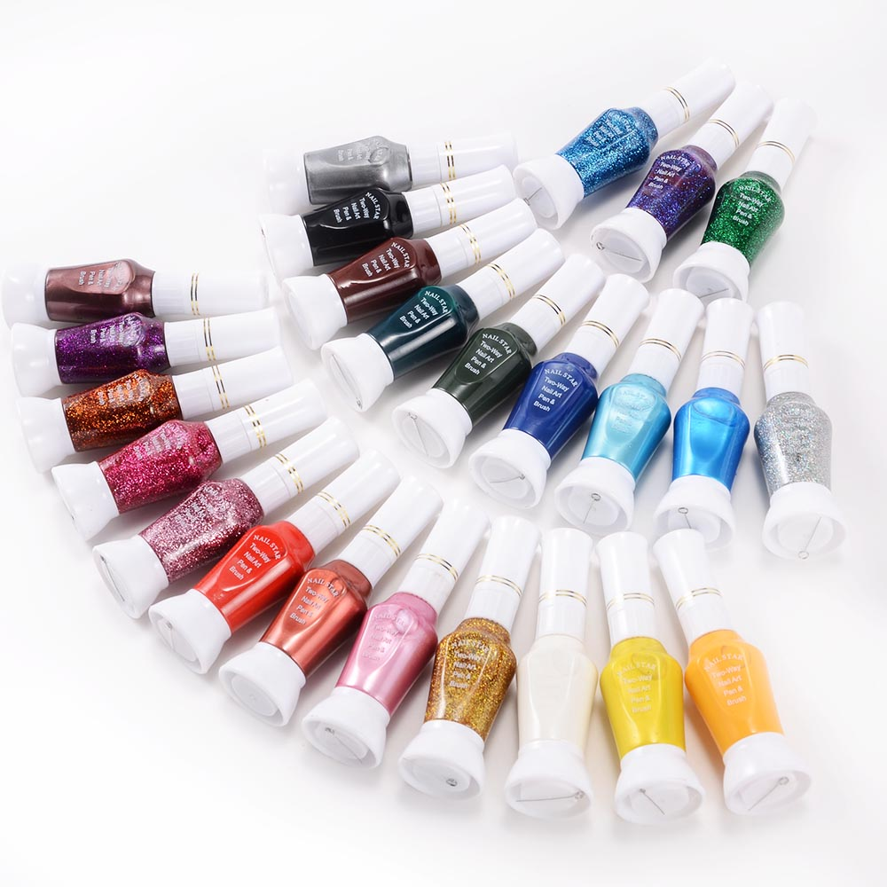Glitter Nail Polish Rainbow: 24 Colours Rainbow Silver Blue Red Pink Glitter Nail