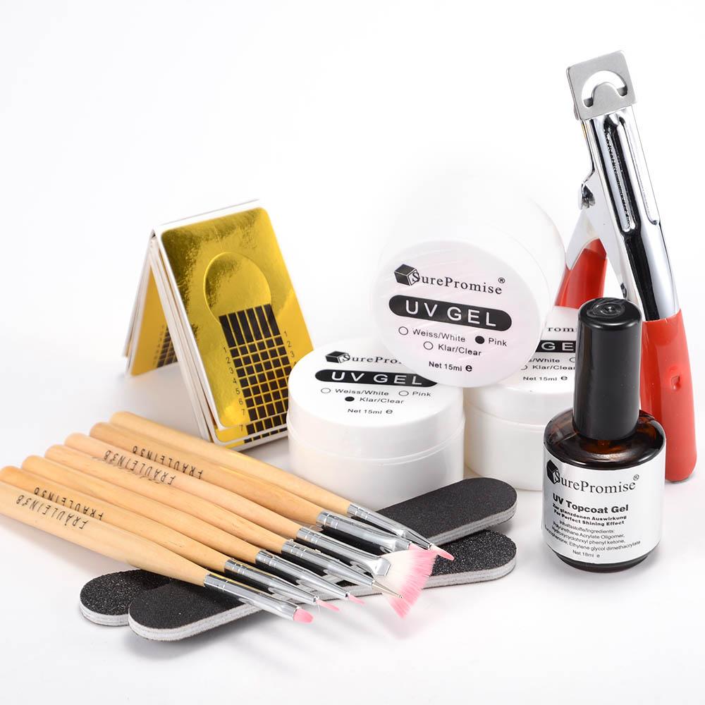 Nail Art Acrylic Topcoat Gel UV Builder Color Gel File Forms Pliers