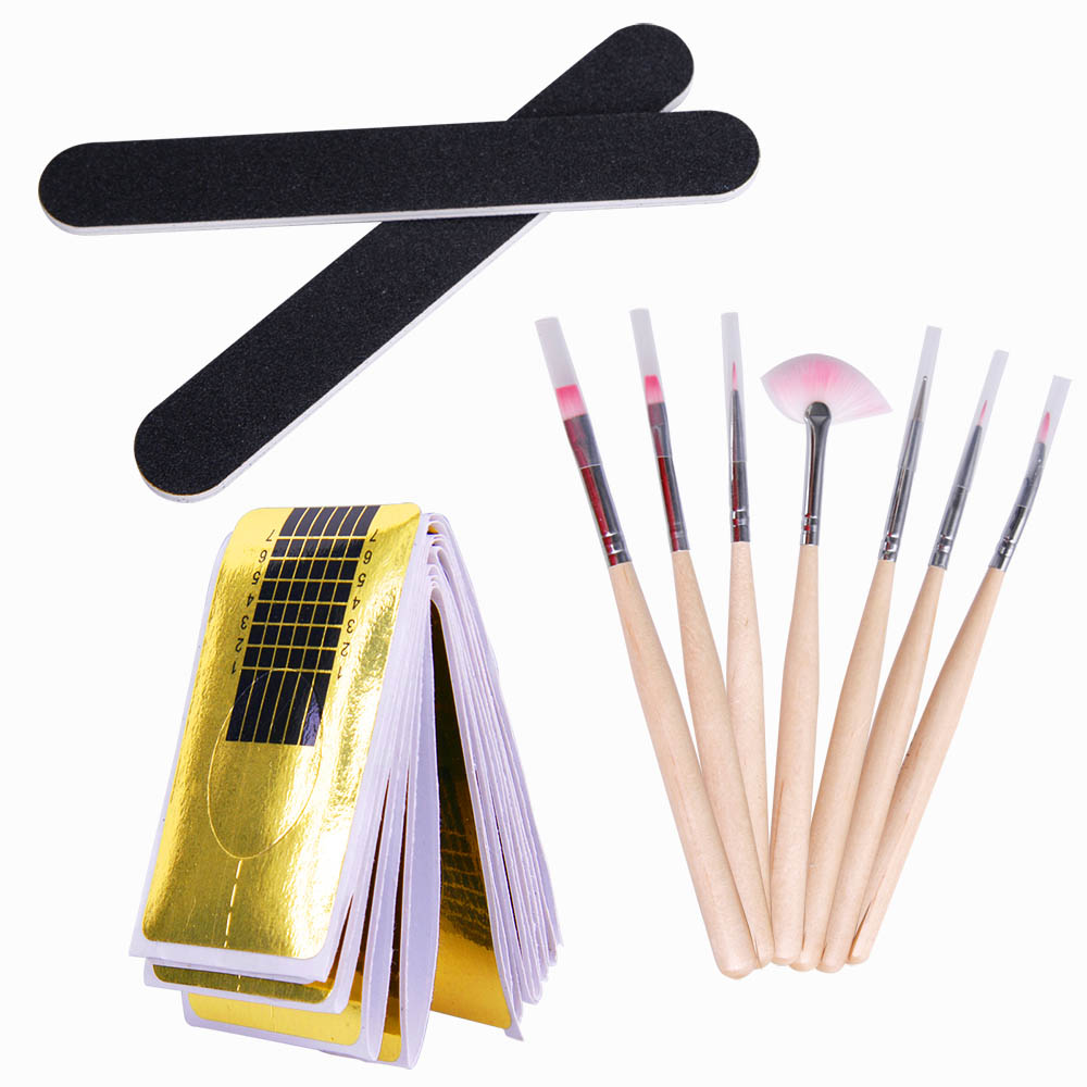 Nail Art UV Builder Gel Manicure Kits Nail Art Brush Topcoat File