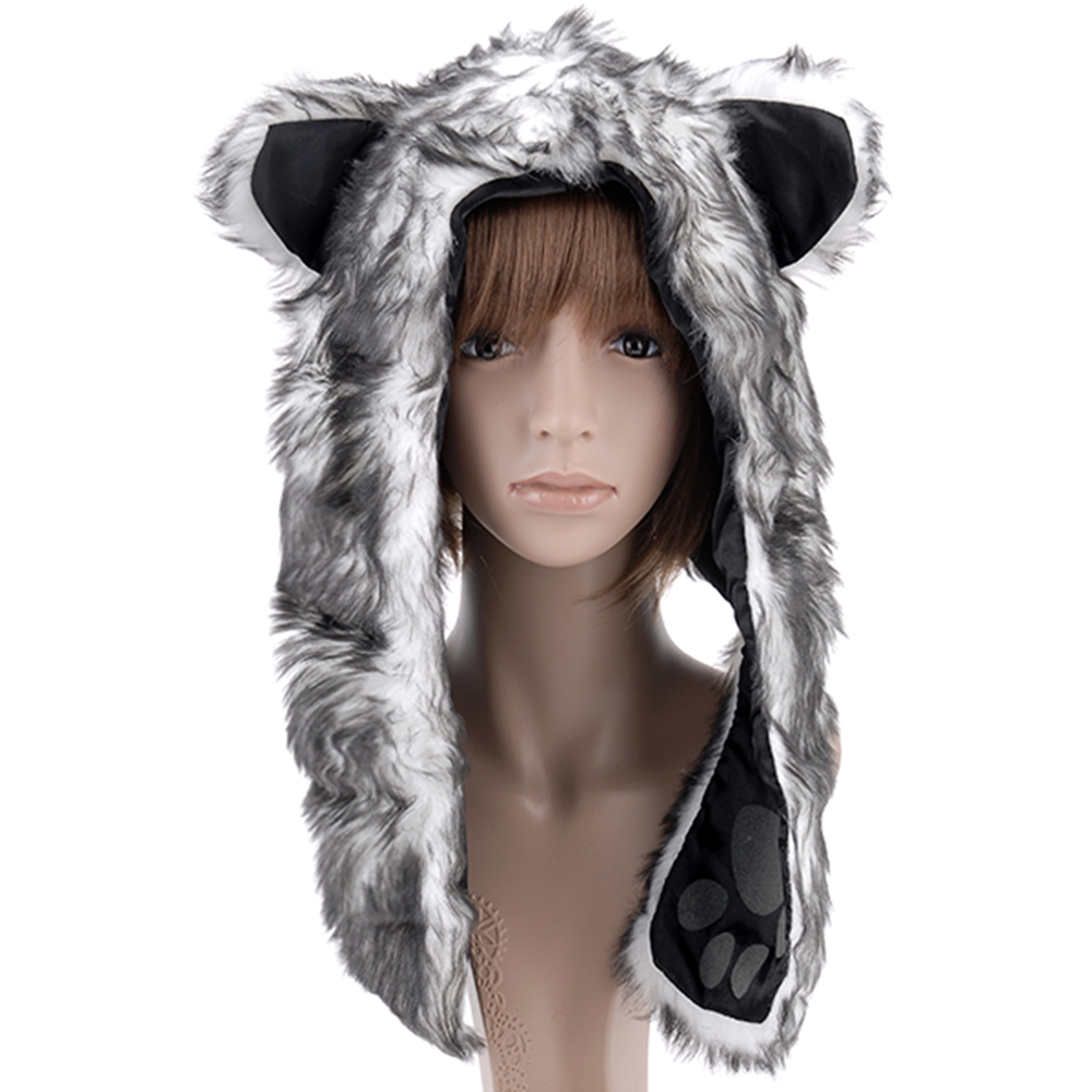 Fluffy Faux FUR Furry Animal Hood Scarf Hoodie HAT Ears PAW Wolf