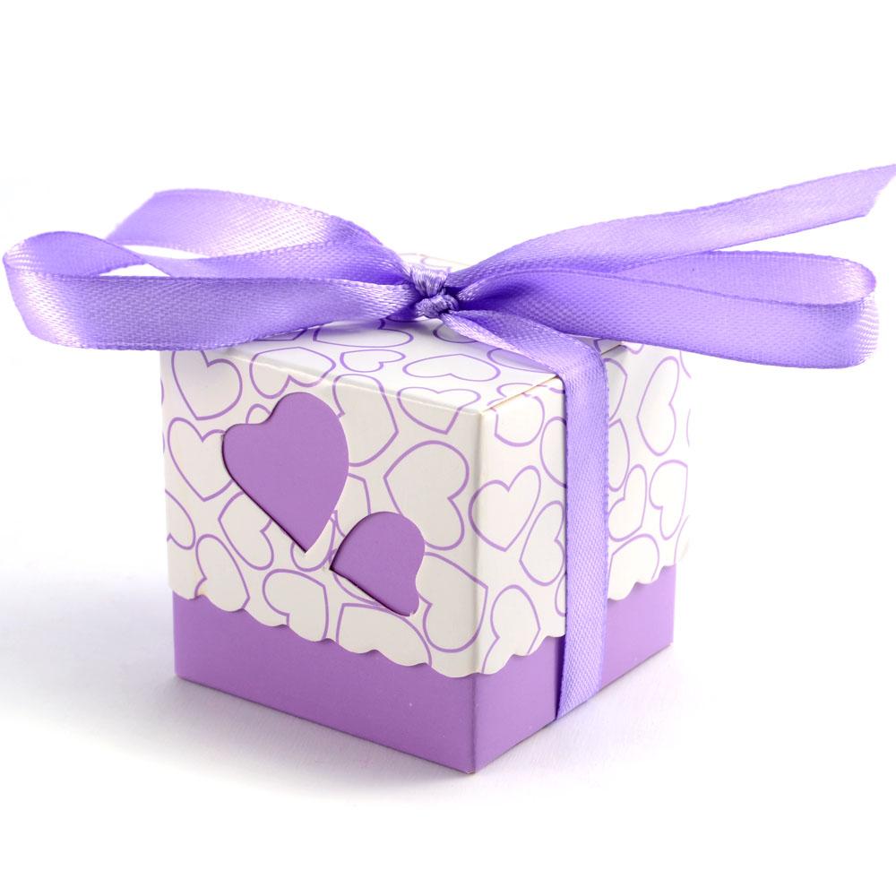 violet 100x boite a dragee bonbon mariage marie coeur. Black Bedroom Furniture Sets. Home Design Ideas