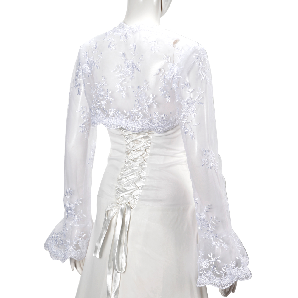 Bridal wedding long sleeve lace jacket bolero shrug dress for Wedding dress with shrug