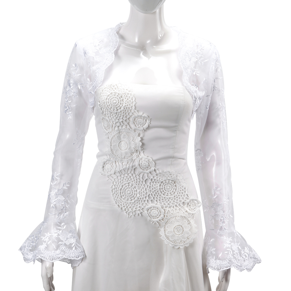 Bridal wedding long sleeve lace jacket bolero shrug dress for Wedding dress lace bolero