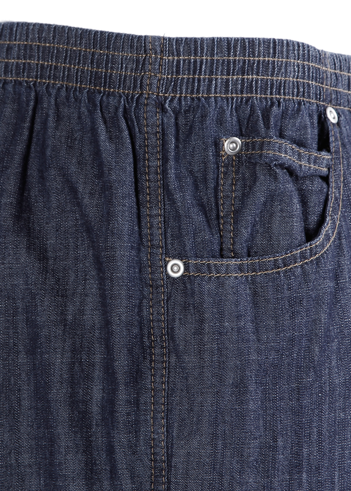 Women Ladies Dark Wash Elastic Waistband Jeans Straight ...