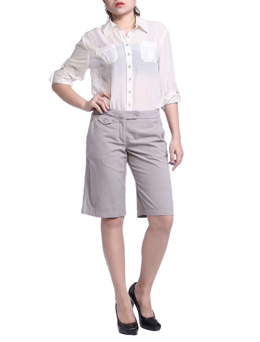 Amazing Lands End Women39s Shorts Khaki Tan Fit 2 NWT Long 7quot Inseam