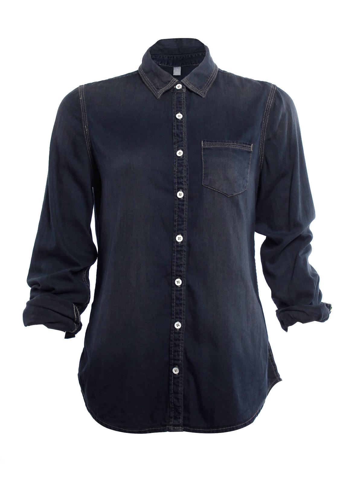 Womens Fitted Long Sleeve Denim Shirt Top Button Down