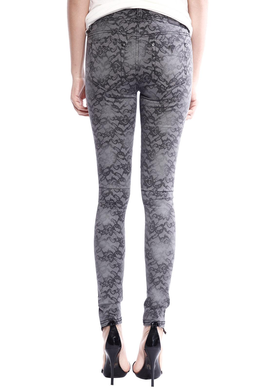 womens low waist lace print skinny jeans slim fit pencil. Black Bedroom Furniture Sets. Home Design Ideas