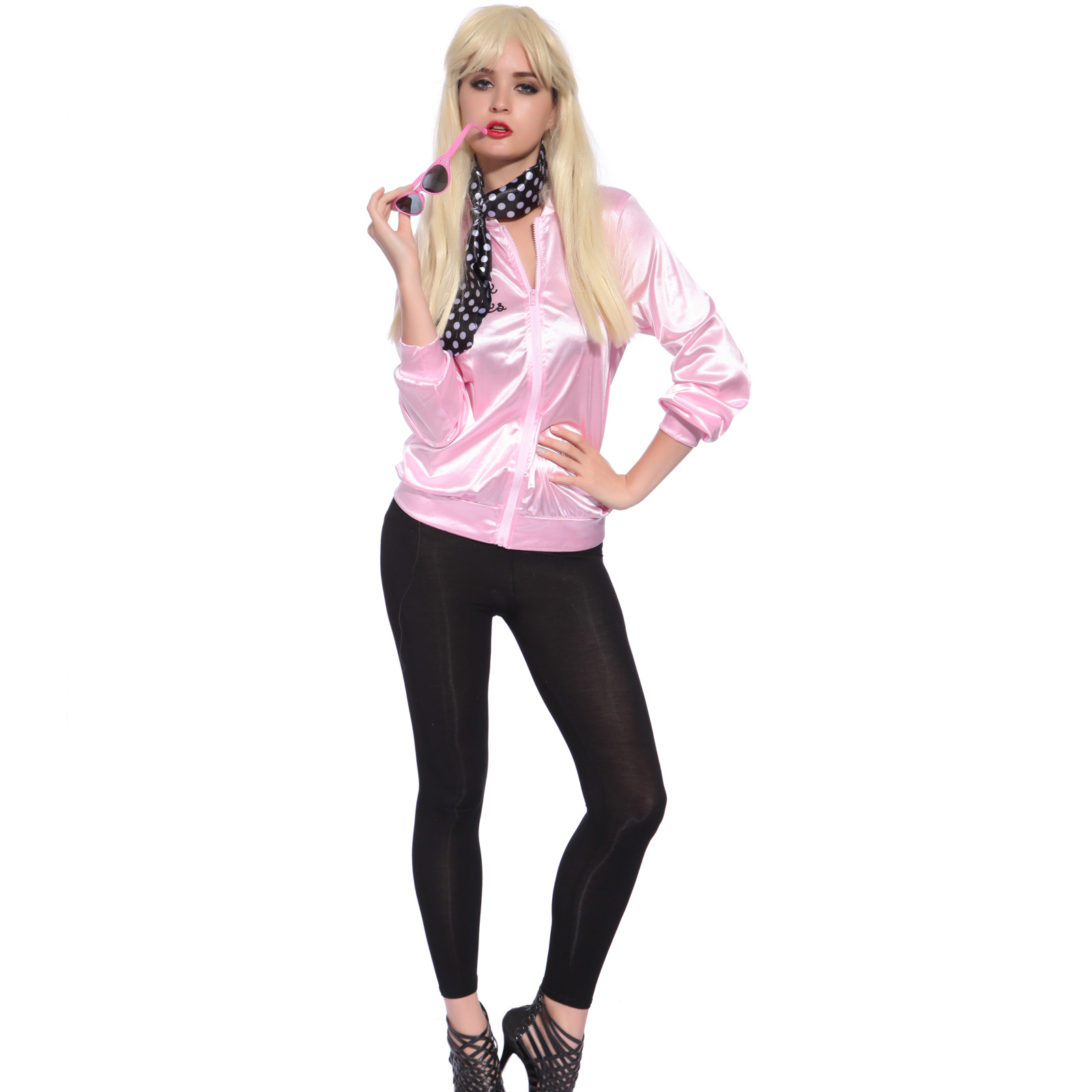 Retro 1950s Grease Pink Ladies Lady Jacket Costume Hen Night Fancy ...