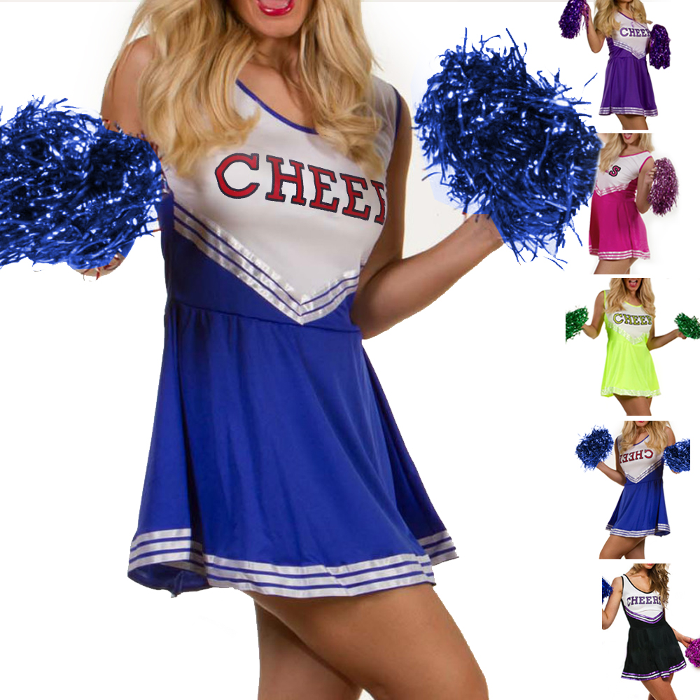 HIGH-SCHOOL-SPORTS-TEAM-CHEERLEADER-GIRL-UNIFORM-COSTUME-OUTFIT-W-POM-POMS