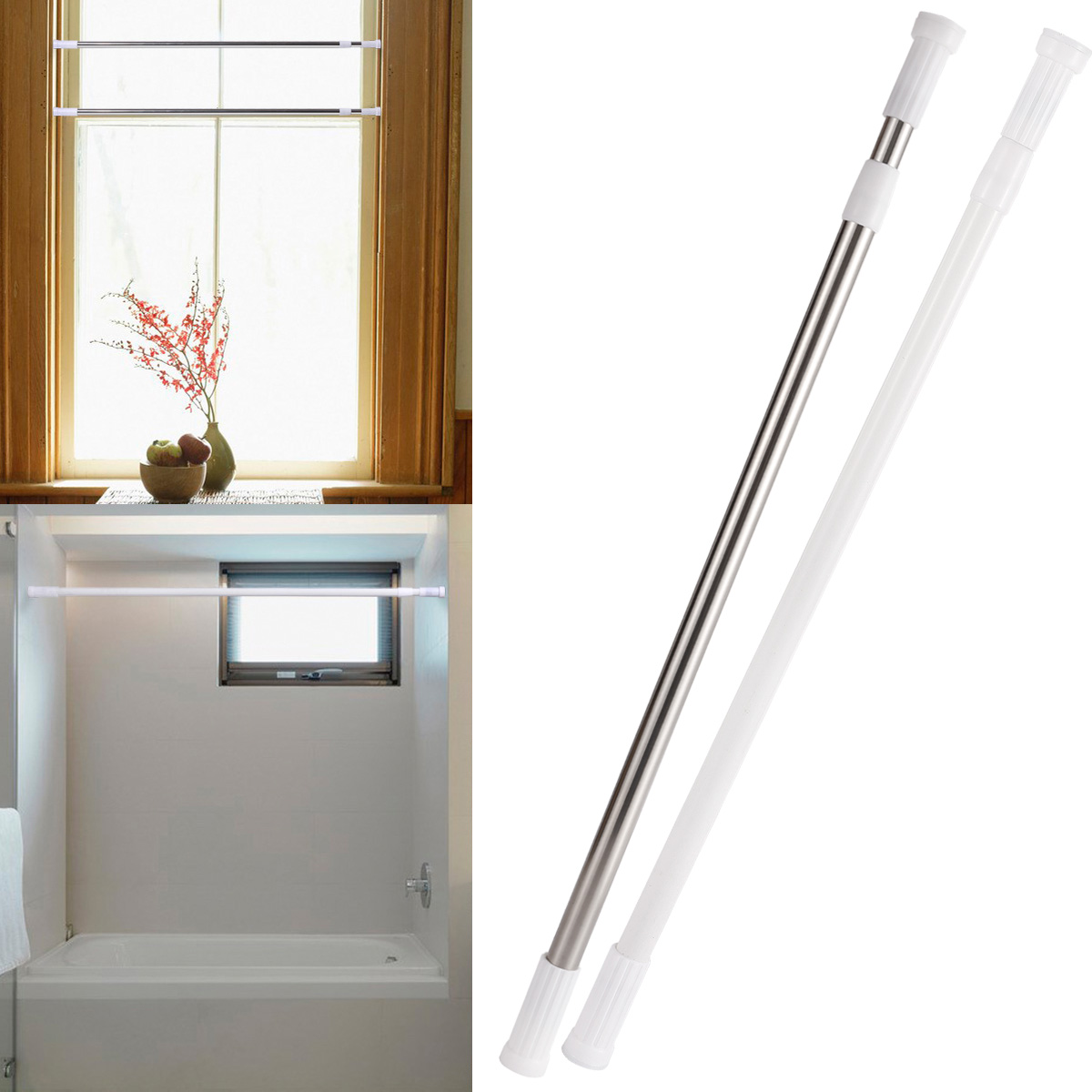 Barra recta universal para cortina ducha ba o extensible for Barra ducha extensible
