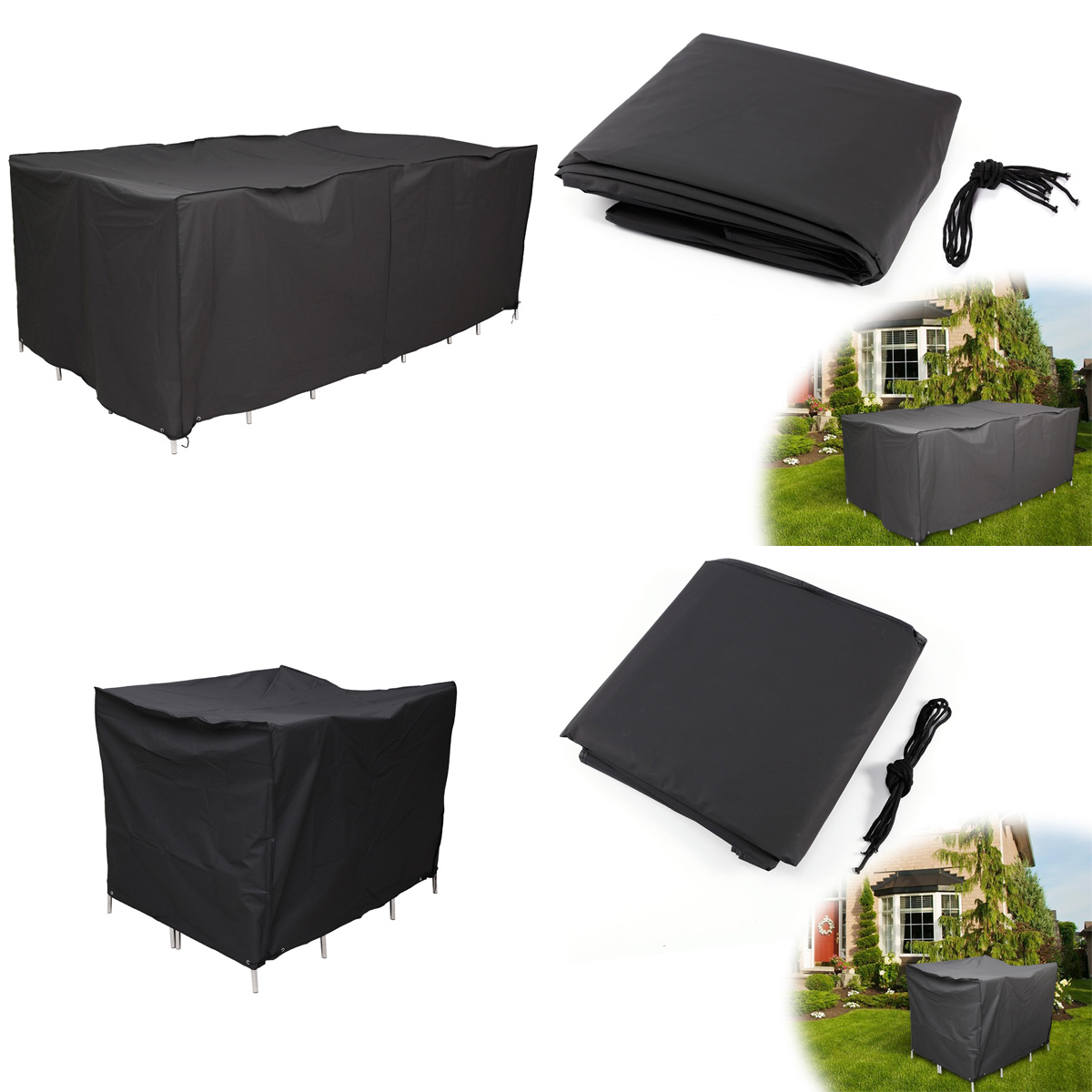 GARDEN PATIO FURNITURE COVER WATERPROOF TABLE CHAIR SHELTER 2 size