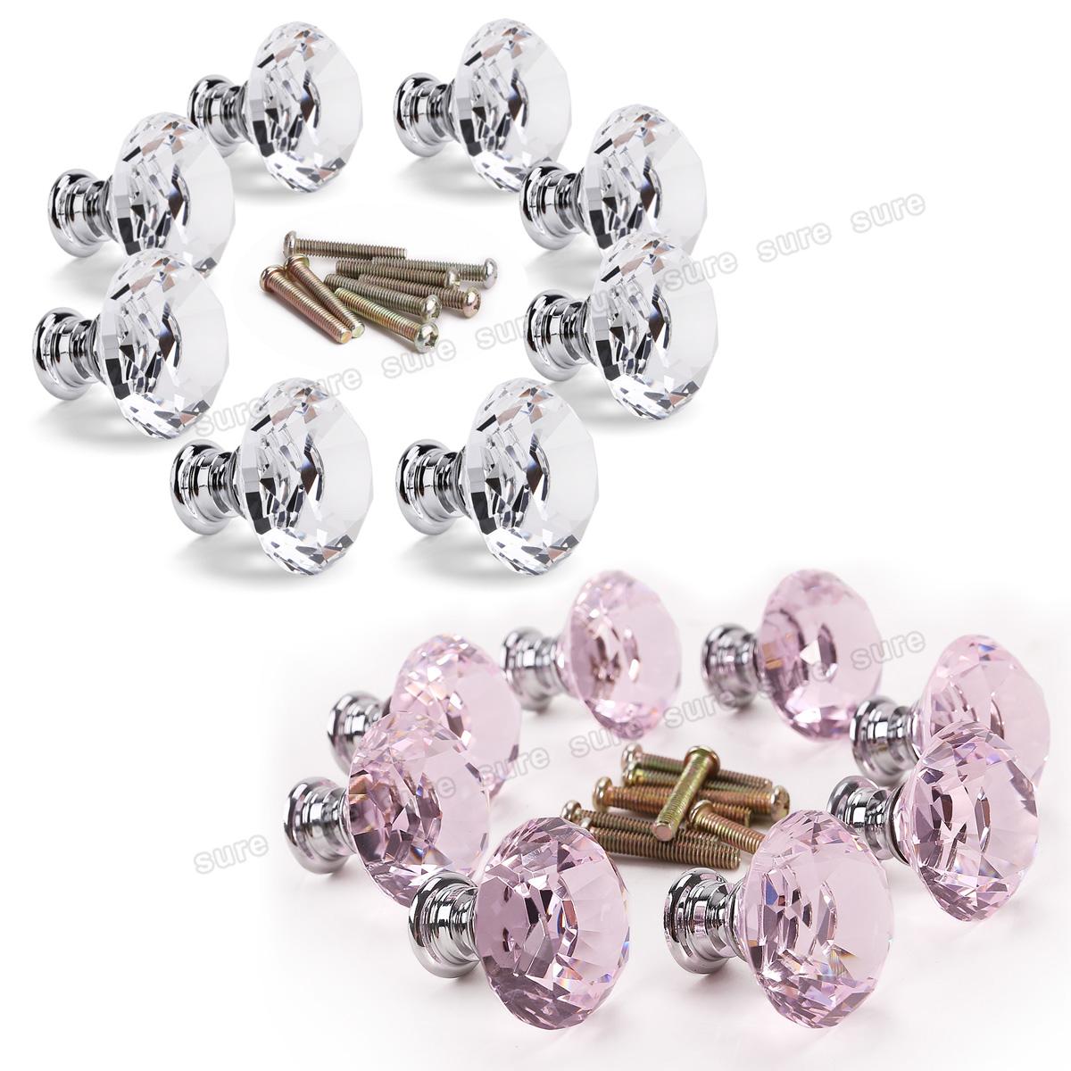 8 pomello 30mm cristallo maniglia per cassetto armadio - Pomelli per mobili cucina ...