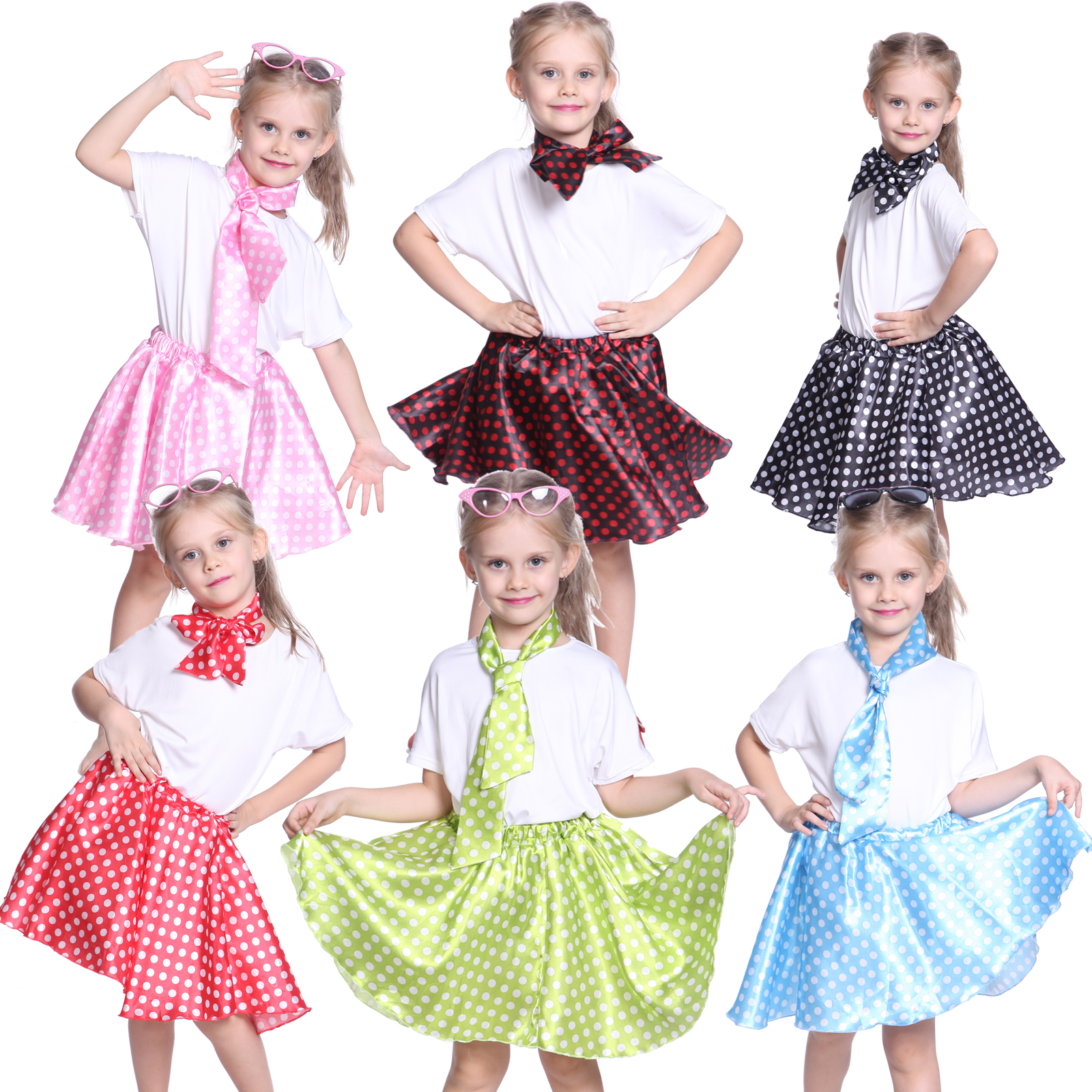 jupe rock n roll pois foulard 6 couleur 1950 grease 5 12 ans fille enfant 50s ebay. Black Bedroom Furniture Sets. Home Design Ideas
