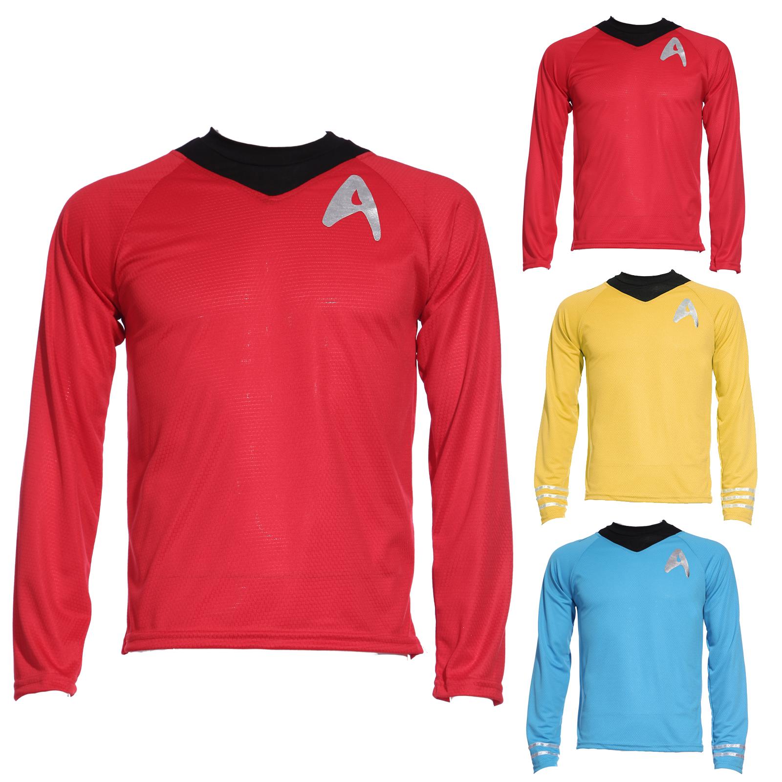 chemise haut de deguisement star treck voyageur space rouge jaune bleu pr homme ebay. Black Bedroom Furniture Sets. Home Design Ideas