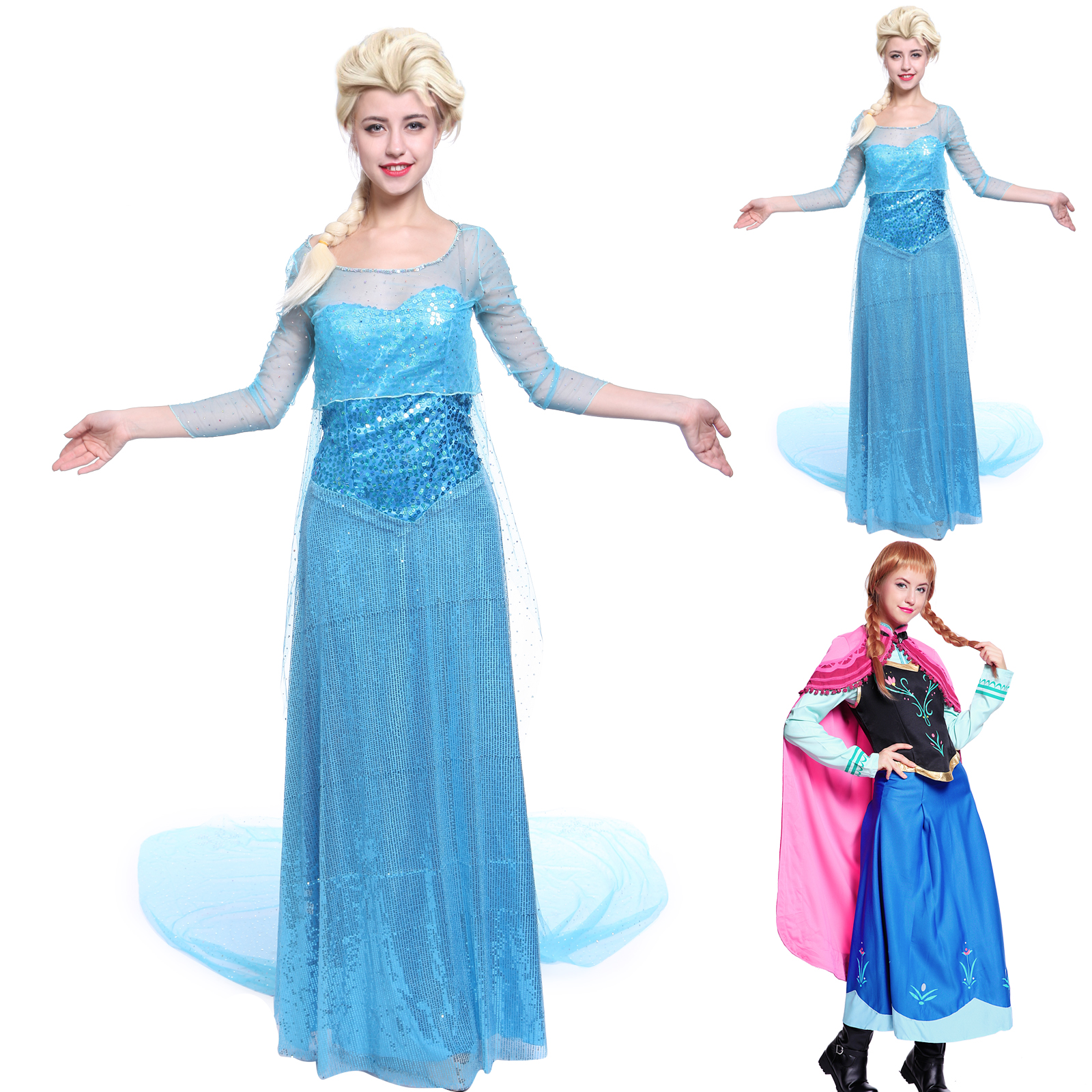 damen kost m schneek nigin elsa eisk nigin kost m elsa cosplay kost m partykleid ebay. Black Bedroom Furniture Sets. Home Design Ideas