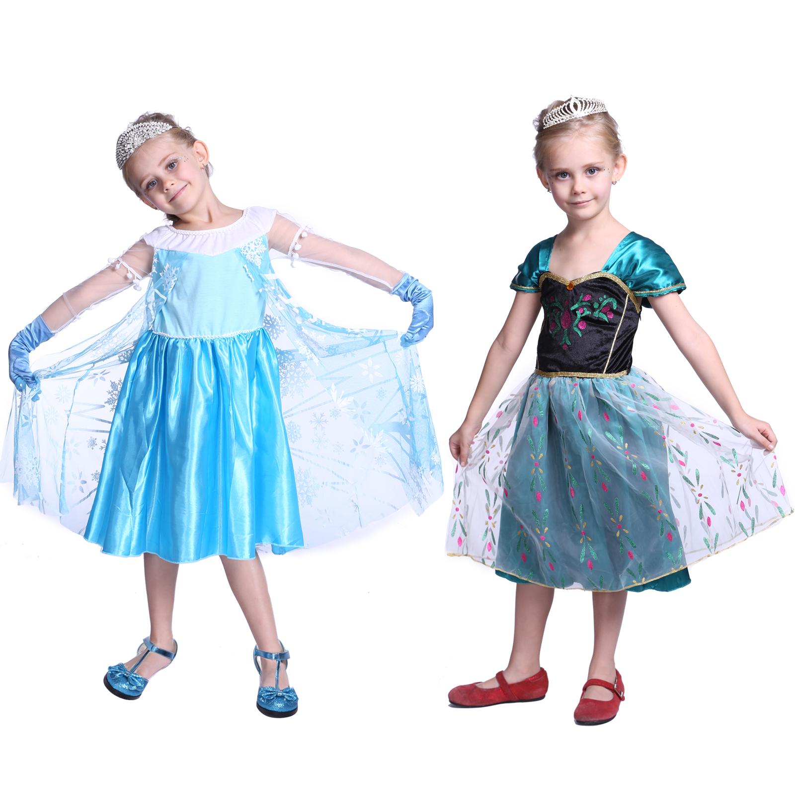 robe fille reine elsa princesse anna neiges frozen deguisement costume 2 6 ans ebay. Black Bedroom Furniture Sets. Home Design Ideas